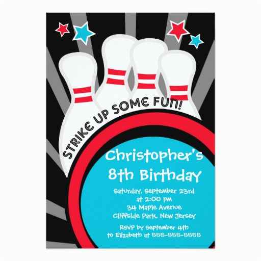 fun bowling boys birthday party invitations 161775343474128433