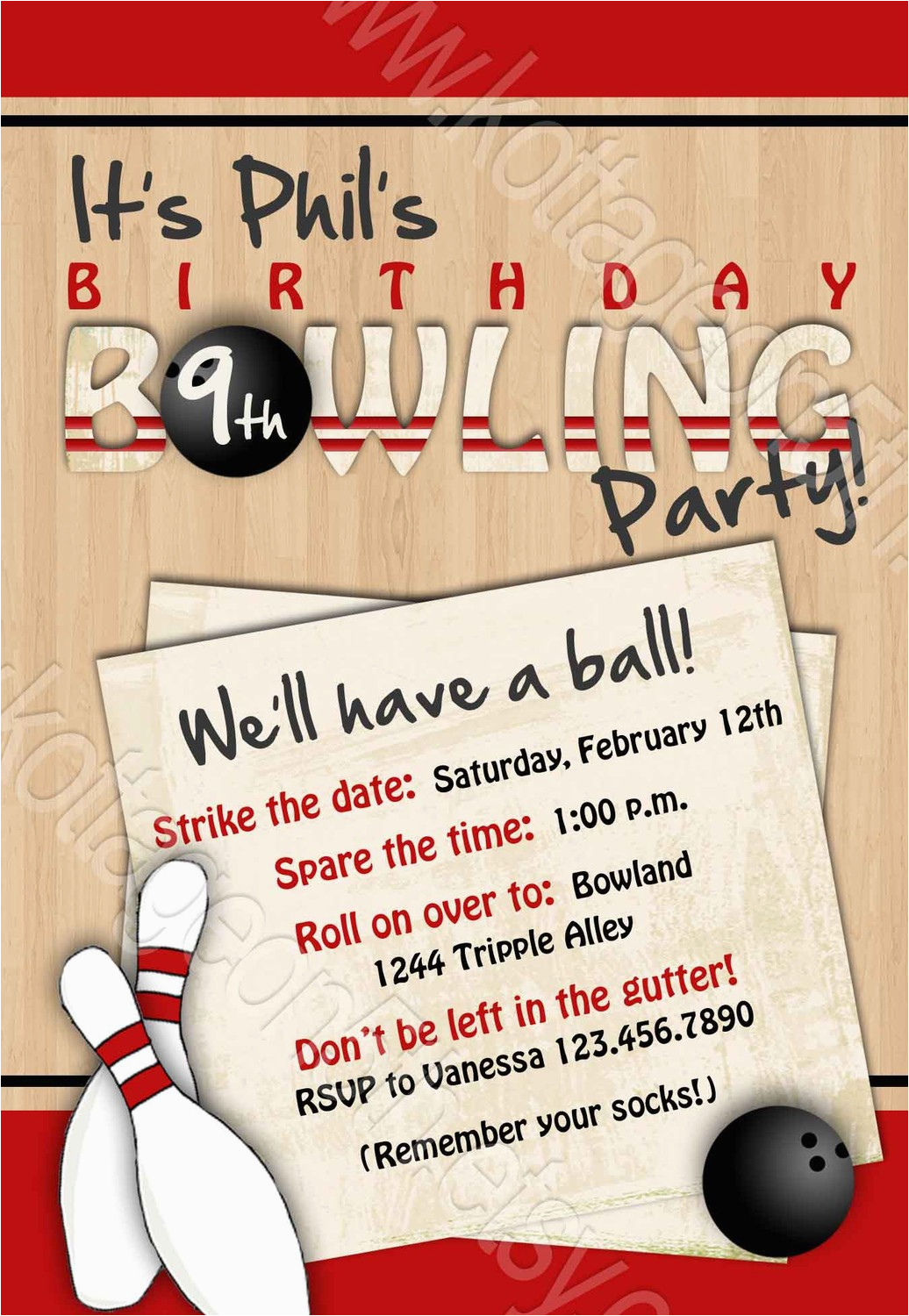 Adult Bowling Party Invitations From Birthday Invitation Wording