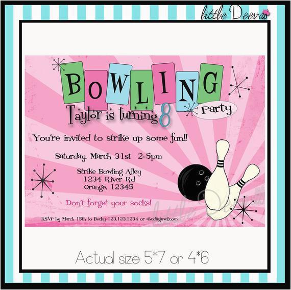 Bowling Birthday Invitation Custom