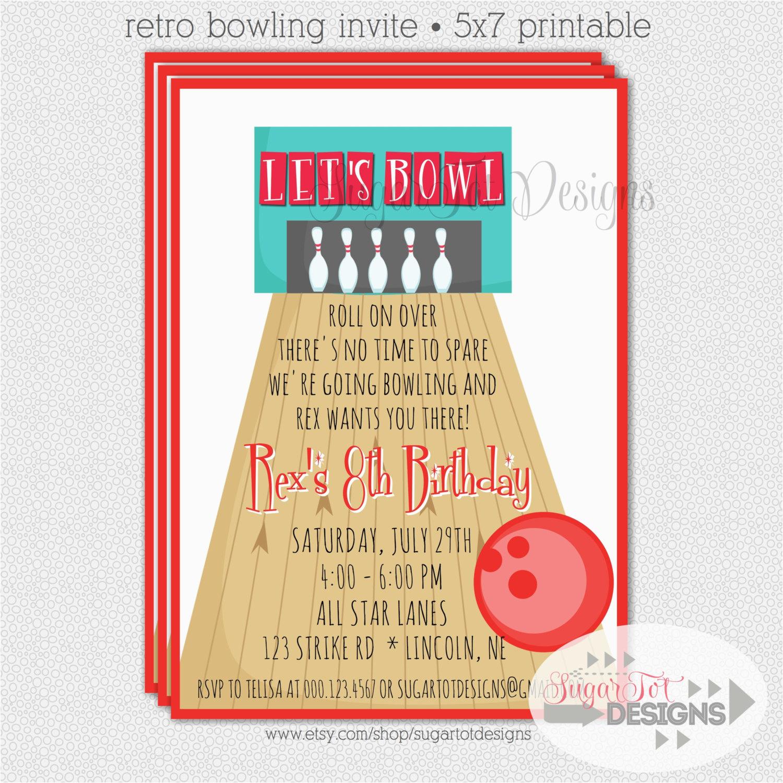 Bowling Birthday Party Invitation Wording Cimvitation