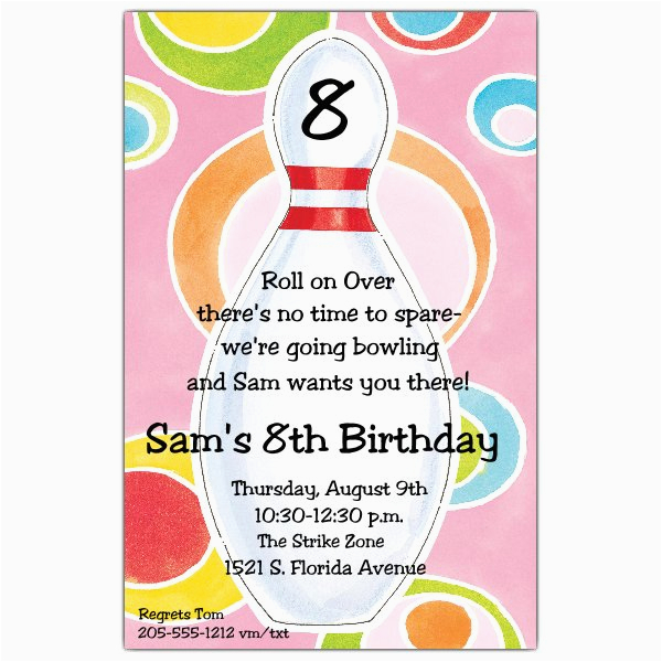 Disco Dots Bowling Invitations P 612 58 21888itb Paperstyle From Birthday Party Invitation Wording