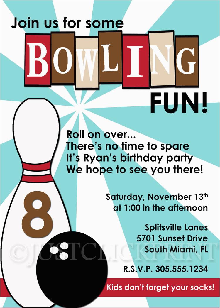 471737 Retro Bowling Fun Birthday Invitation Blue Brown Printable