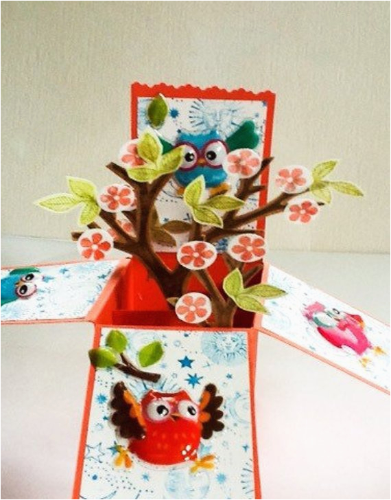 Box Of Kids Birthday Cards Hand Made Pop Up Card Owls