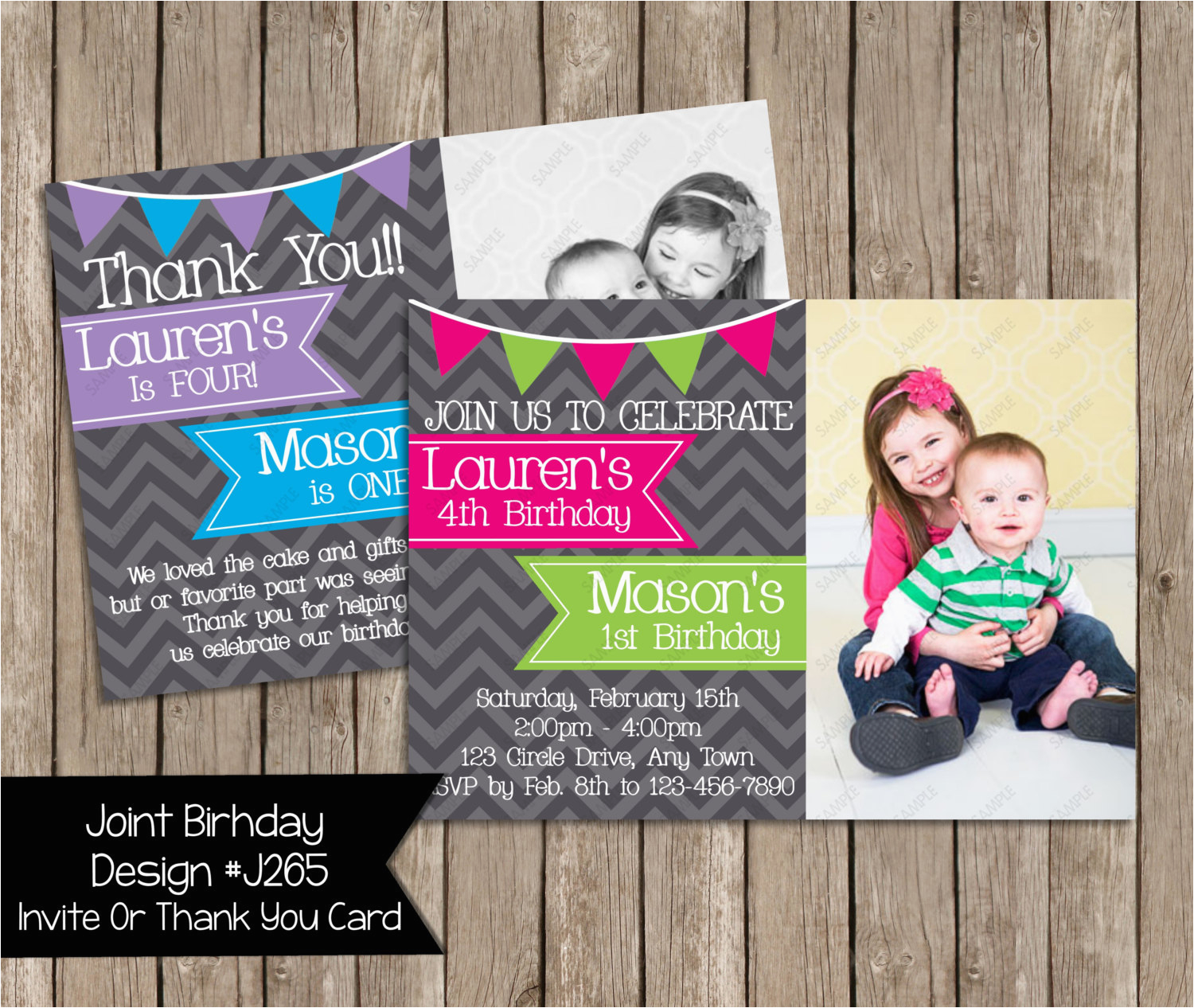 Boy And Girl Joint Birthday Invitations Party Invitation By Periwinklepapery