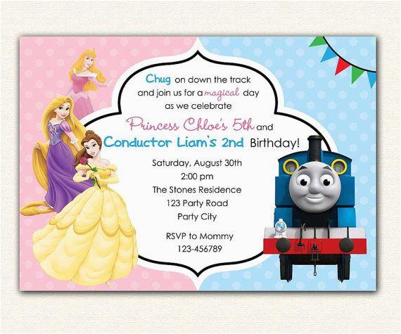 Boy And Girl Joint Birthday Invitations Thomas Train Disney Princess Invitation