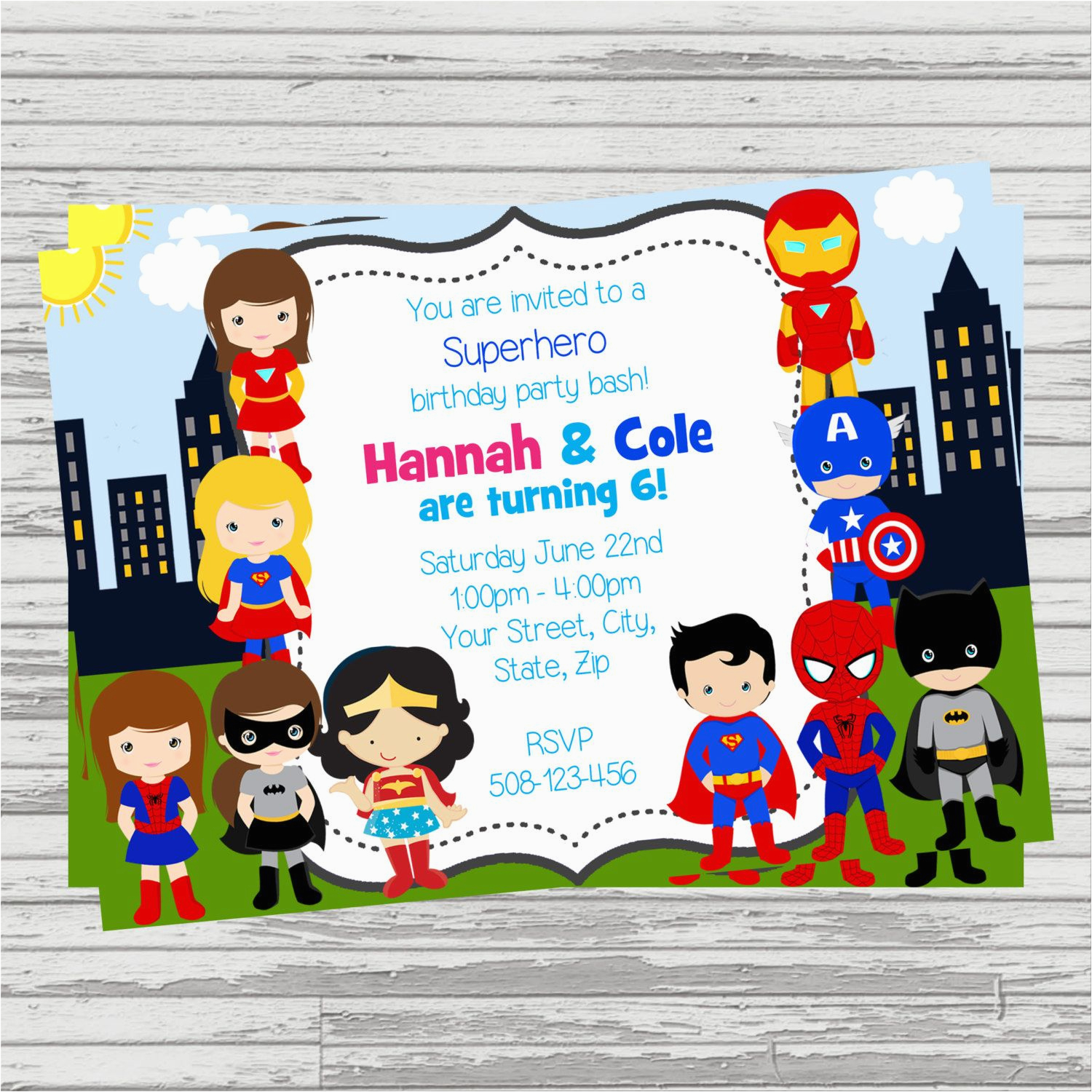 Boy Girl Twin Birthday Invitations And Superheroes Twins Joint Party Custom Digital