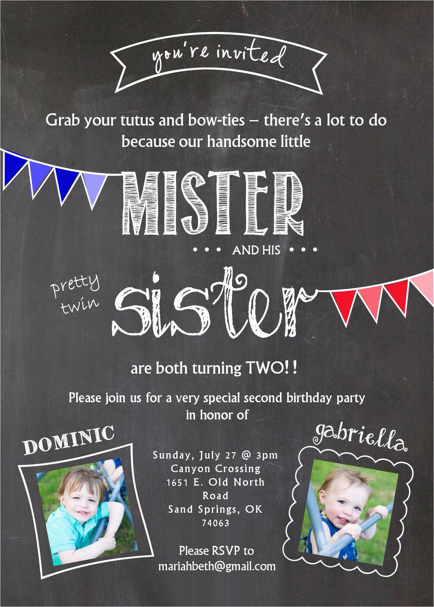 Boy Girl Twin Birthday Invitations Invitation Two Years Old Twins