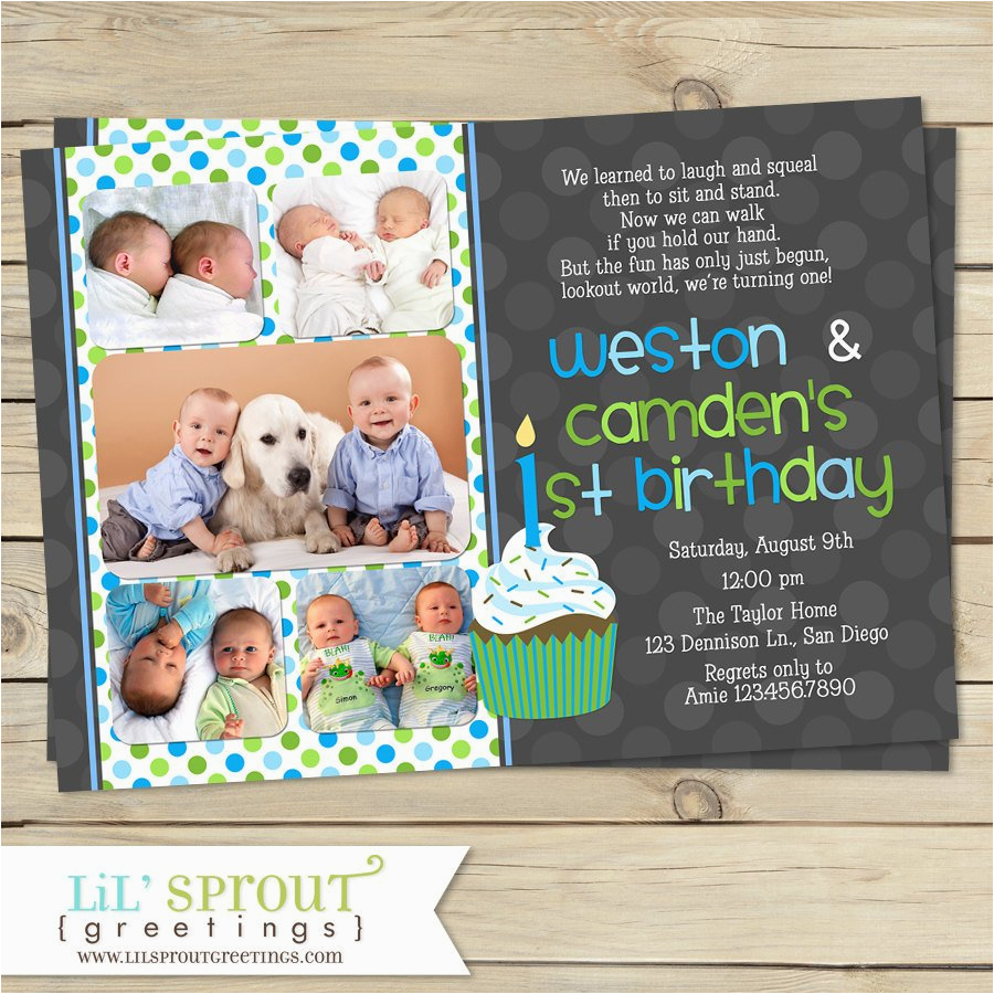 twin first birthday invitation boy twin