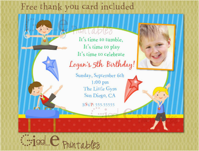 Boy Gymnastics Birthday Party Invitations Invitation Free Thank You Card