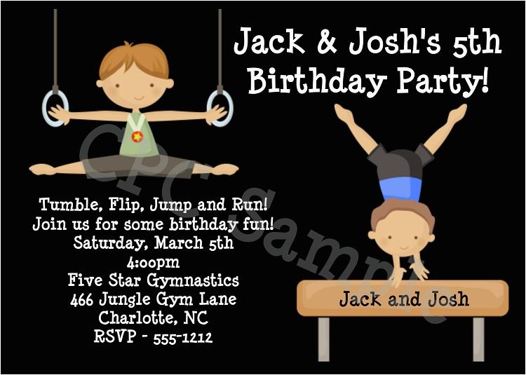 boys gymnastics birthday party invitations or invites printable or printed p 1277