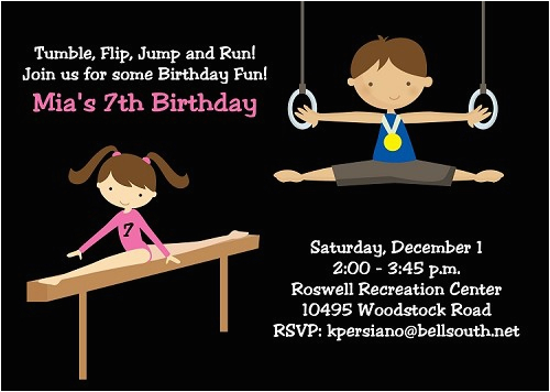 gymnastics birthday party invitations for boys and girls printable or printed p 2120