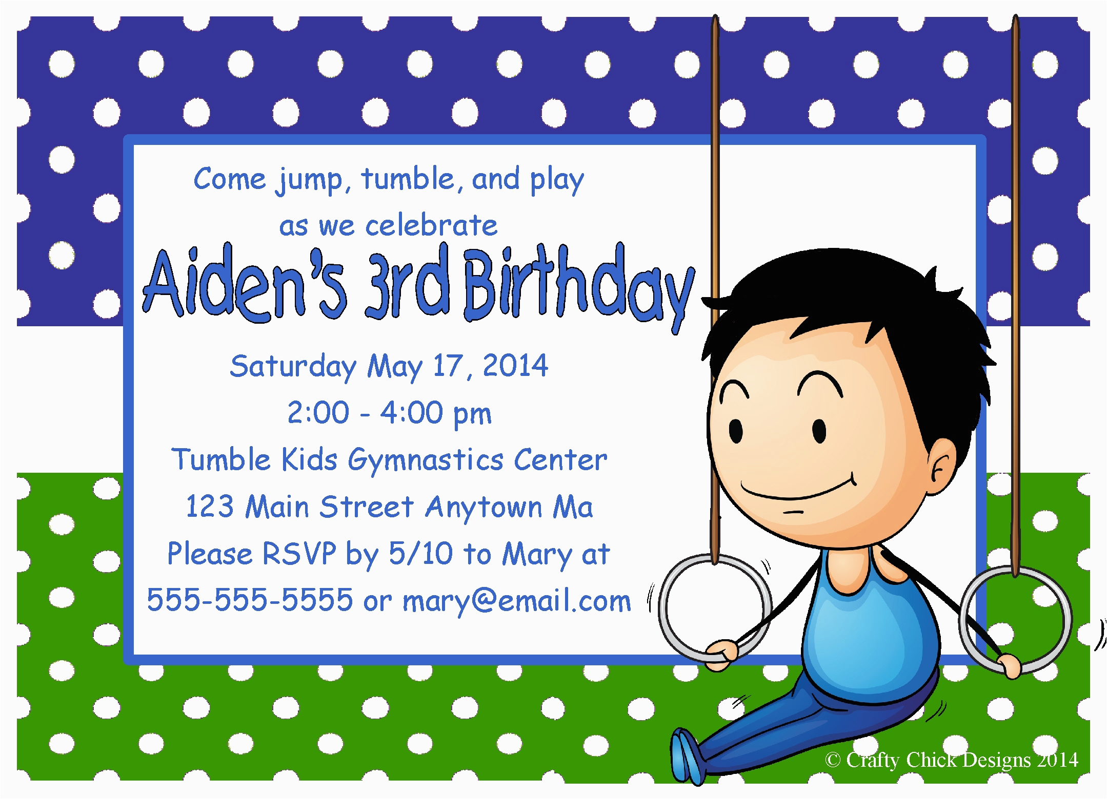 gymnastics boy birthday party invitations