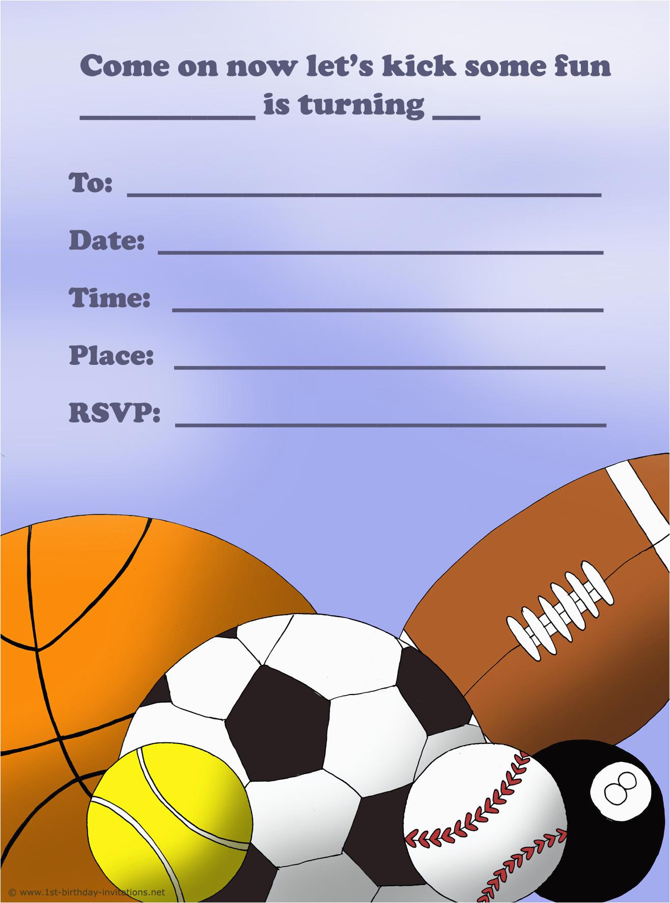 Boy Sports Birthday Invitations 14 Printable Many Fun Themes 1st