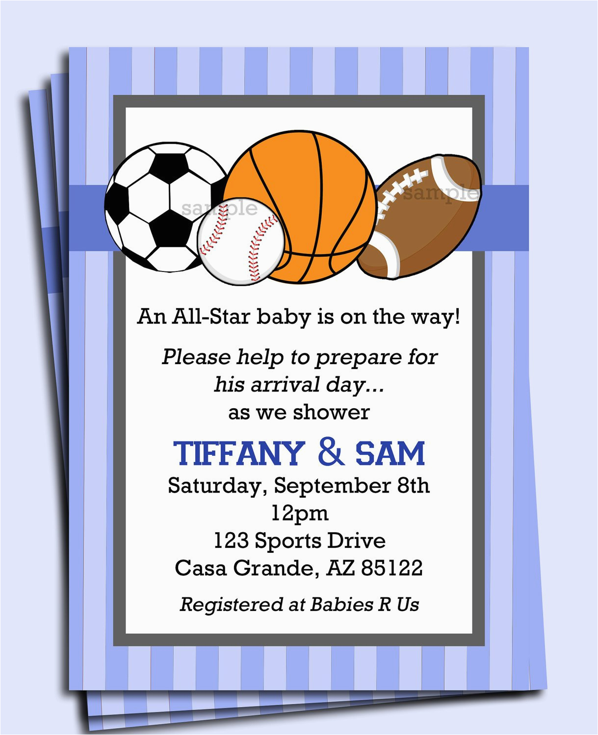 Boy Sports Birthday Invitations All Star Sports Invitation Printable or Printed with Free