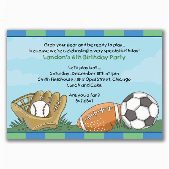 sports madness invitations for boys