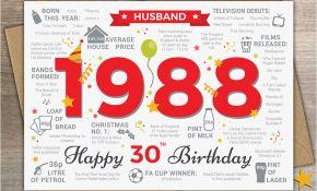Boyfriend 30th Birthday Card 1988 Husband Happy