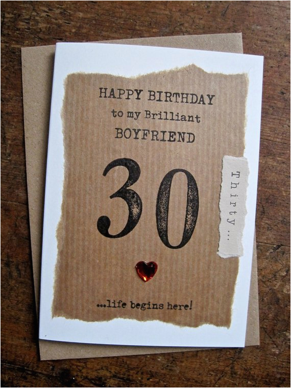 Boyfriend 40th Birthday Card Boyfriend 30th 40th 50th 60th Birthday Card Hand Stamped
