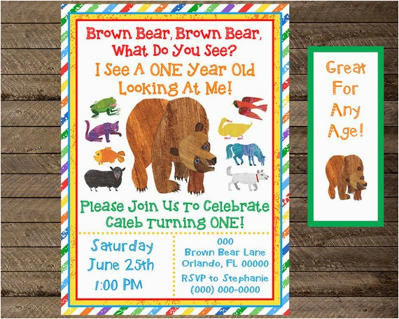 Brown Bear Birthday Party Invitations Invite Invitation By
