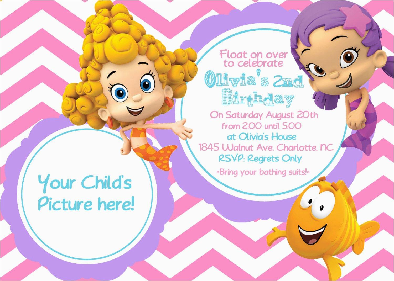 Bubble Guppie Birthday Invitations Guppies 1st