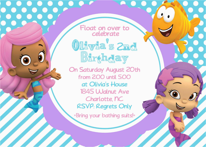 bubble guppy girls birthday invite card