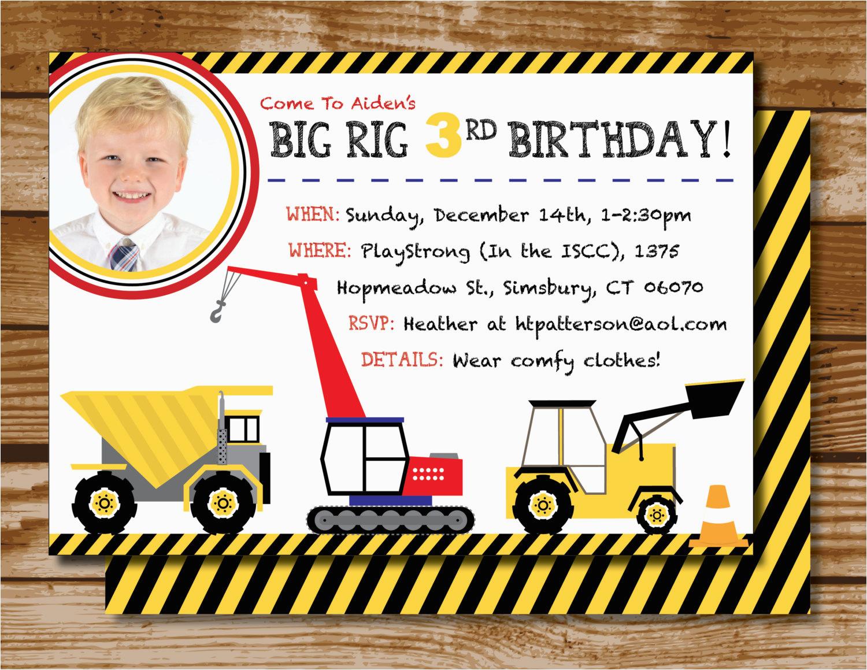 bulldozer birthday invitations