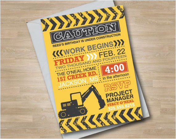 construction invitation birthday