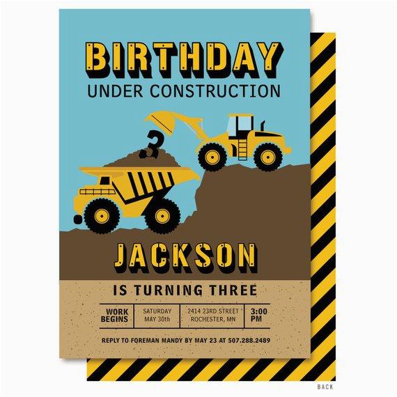 dump truck birthday invitation bulldozer