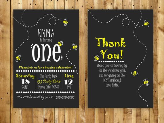 bumble bee birthday invitation and free thank by