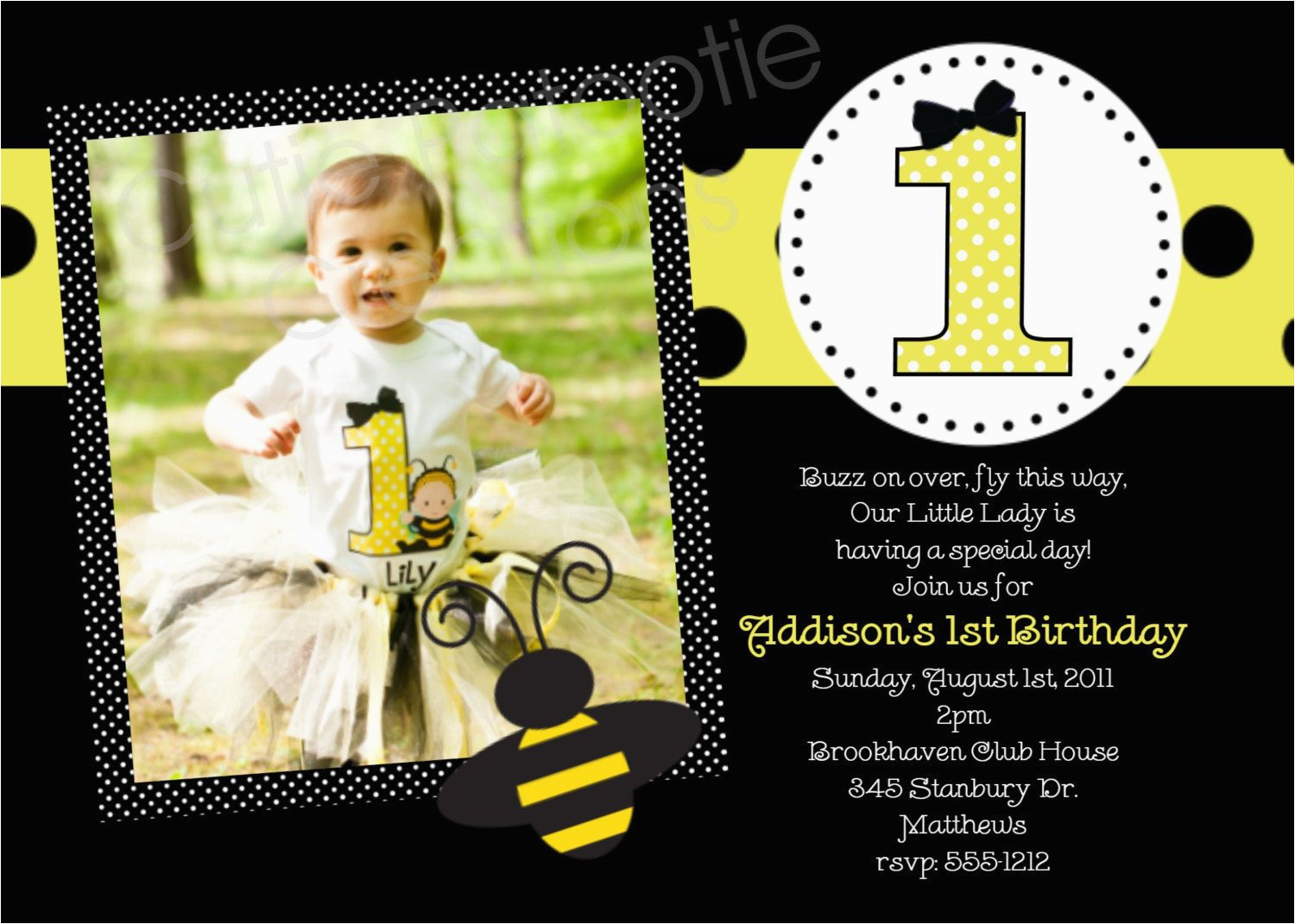 bumble bee birthday party invitations printable or