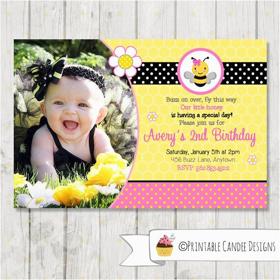 pink bumble bee birthday invitation bee by printablecandee