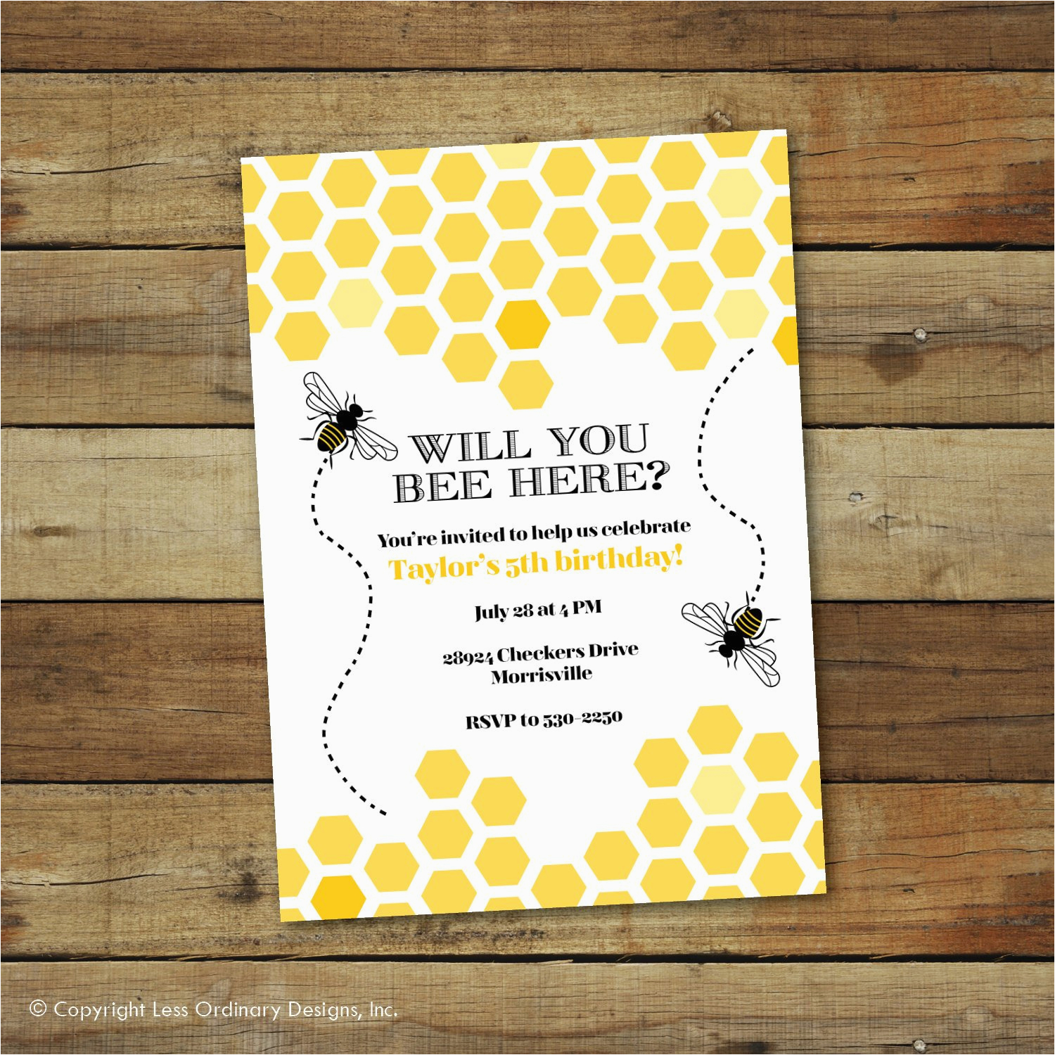 bumble bee birthday party invitation bee