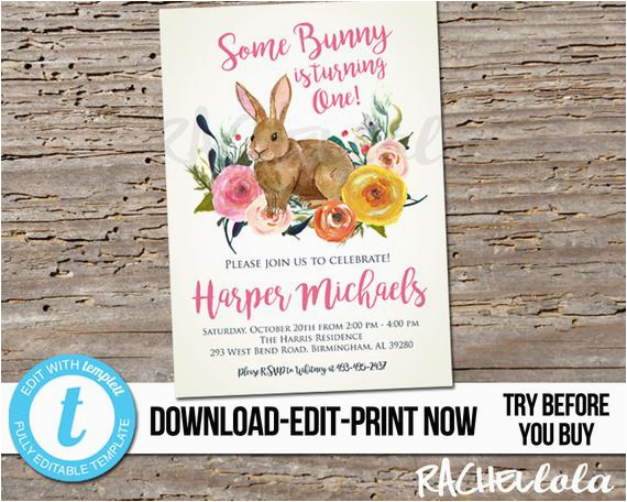 Bunny Birthday Invitation Template Editable Some Is Turning