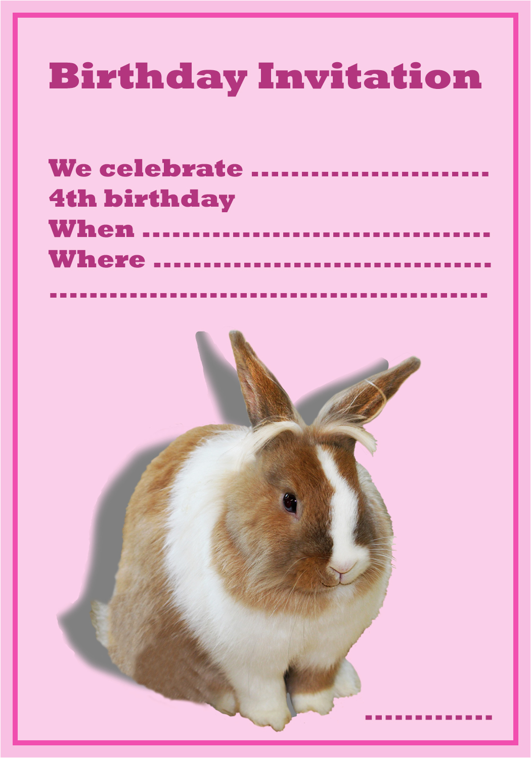 Bunny Birthday Invitation Template Free For The