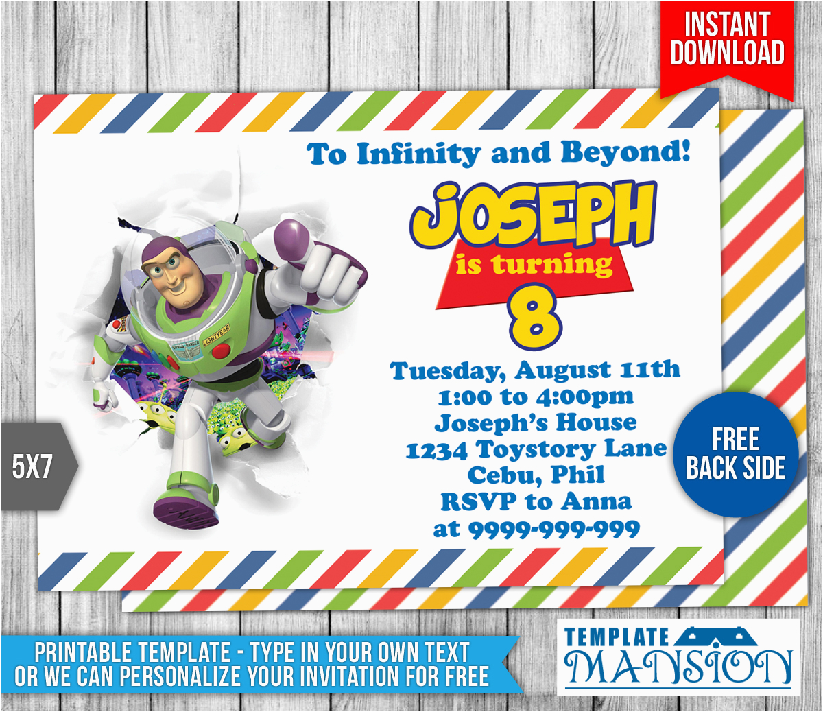 buzz lightyear toy story birthday invitation 1 554106783