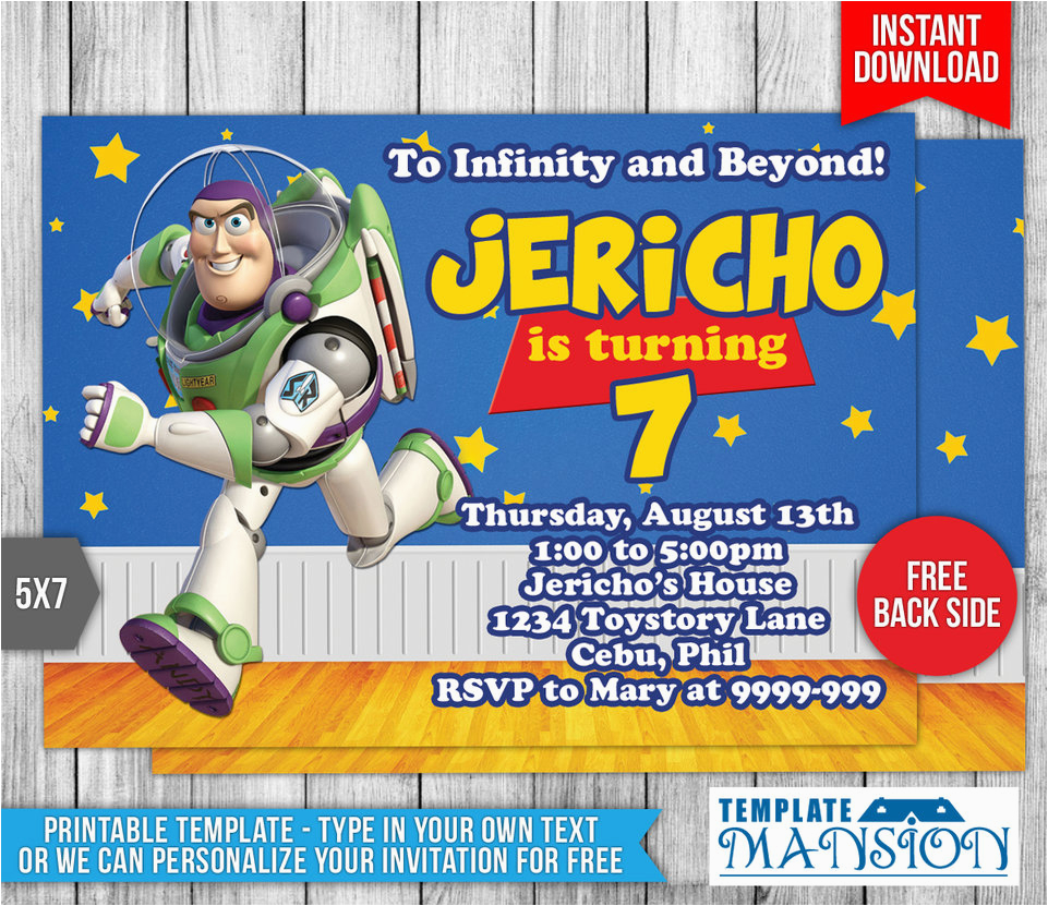 buzz lightyear toy story birthday invitation 554110045