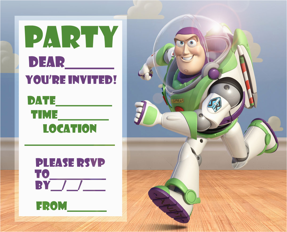 Buzz Lightyear Birthday Invitations Disney Coloring Pages