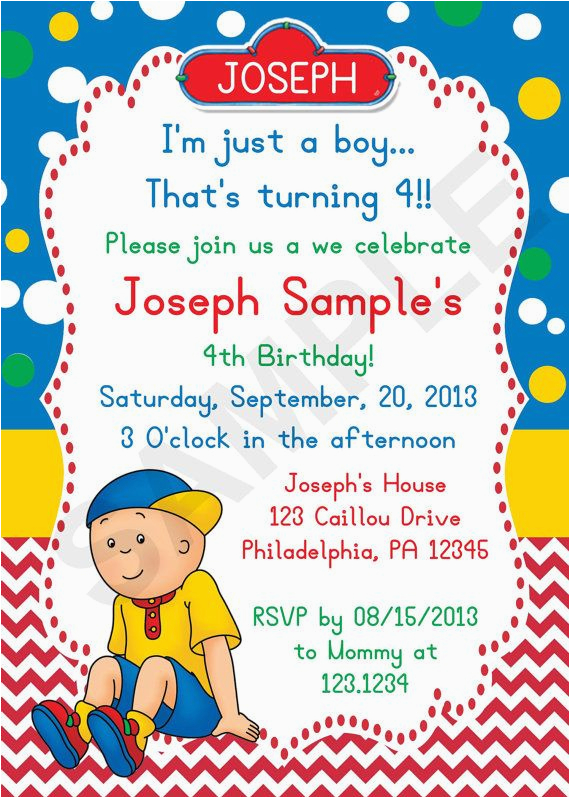 caillou birthday party ideas