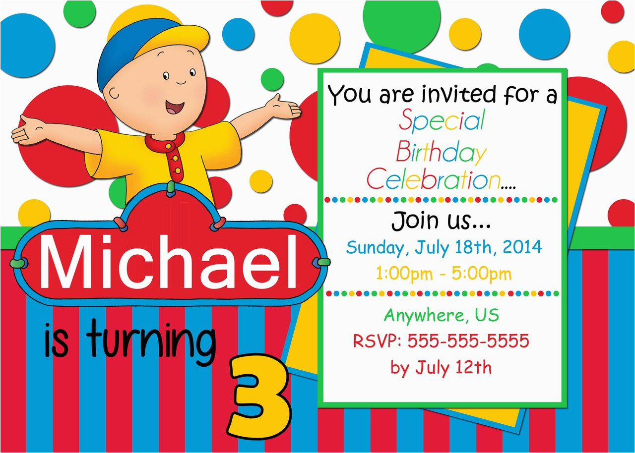 caillou birthday invitations