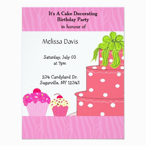 cake decorating birthday party invitation 256325648390946094
