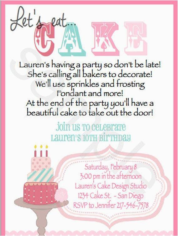 cake decorating invitations set of 20