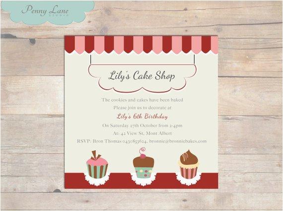 cake shop invitation girls birthday