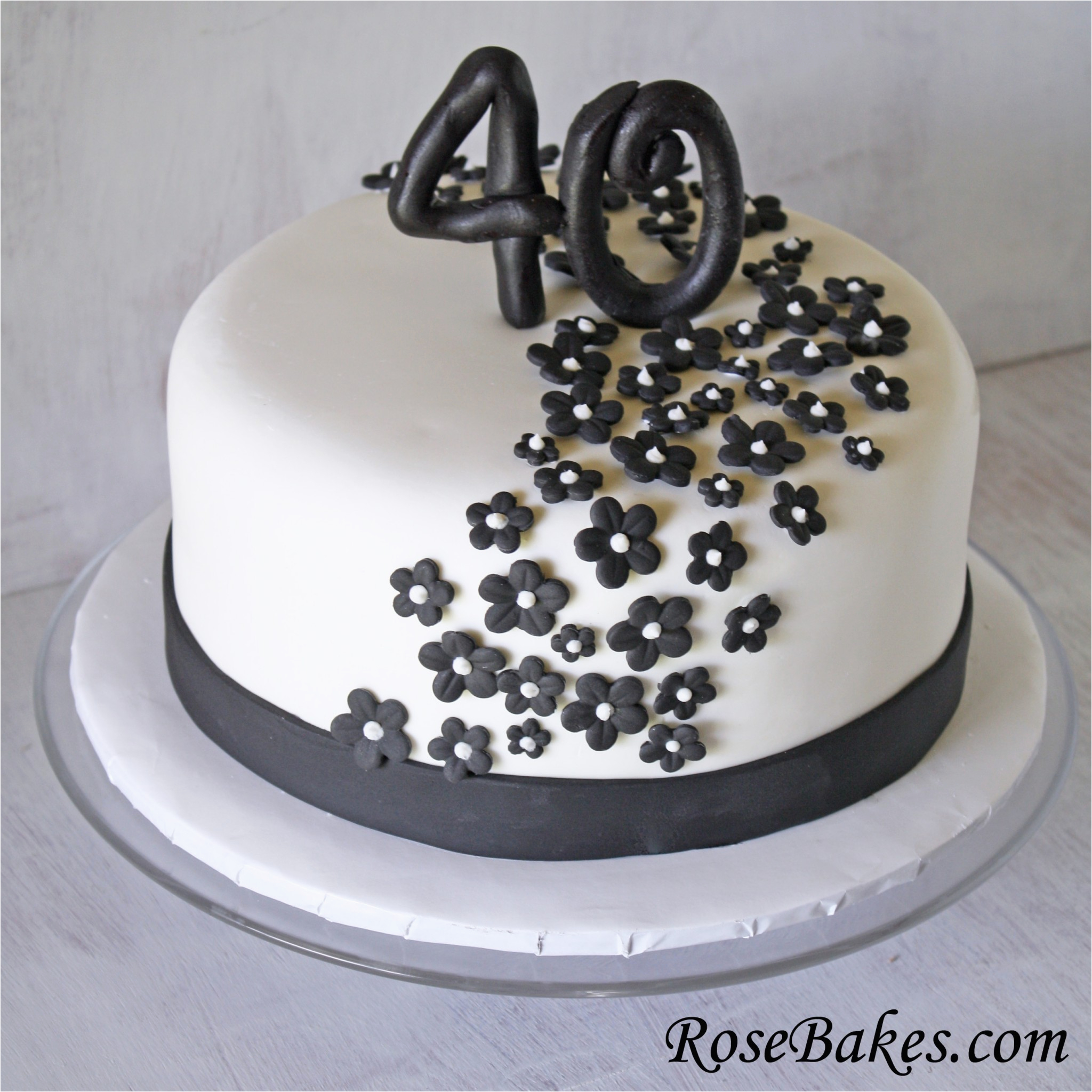 black white flowers 40th birthday cake