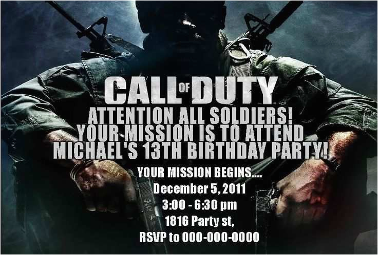Call Of Duty Birthday Invitation Cards Modern Warfare 13 Year Old