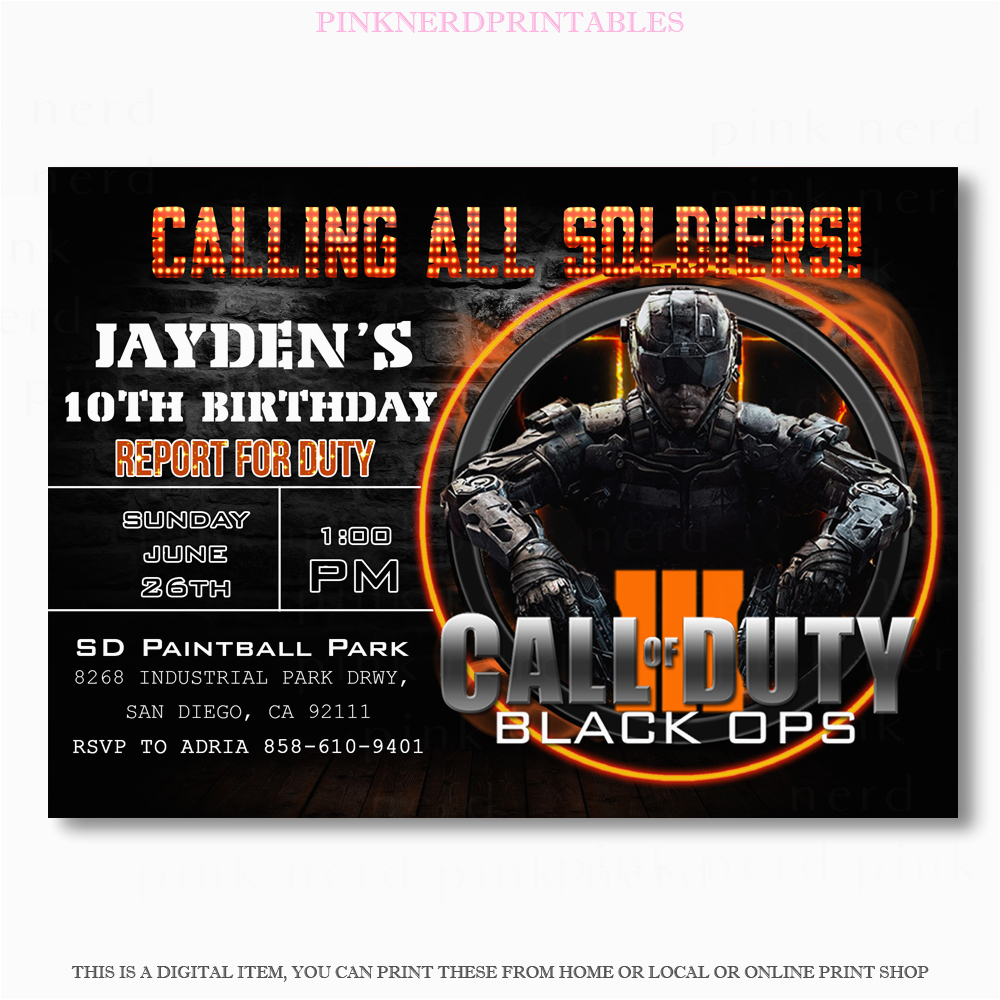 Call Of Duty Birthday Party Invitations Birthdaybuzz