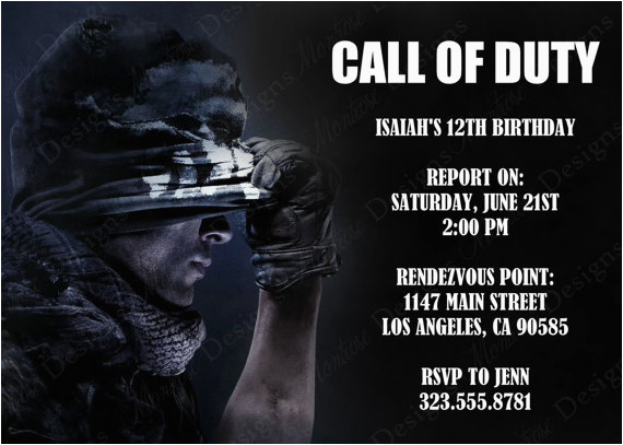 Call Of Duty Black Ops Birthday Invitations Call Of Duty Birthday Party theme Ideas Supplies