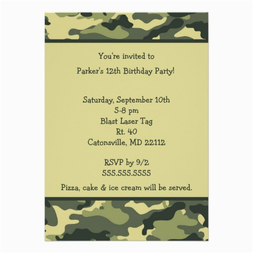 Camo Birthday Card Template Camo Army Green Birthday Party Invitation 5 Quot X 7