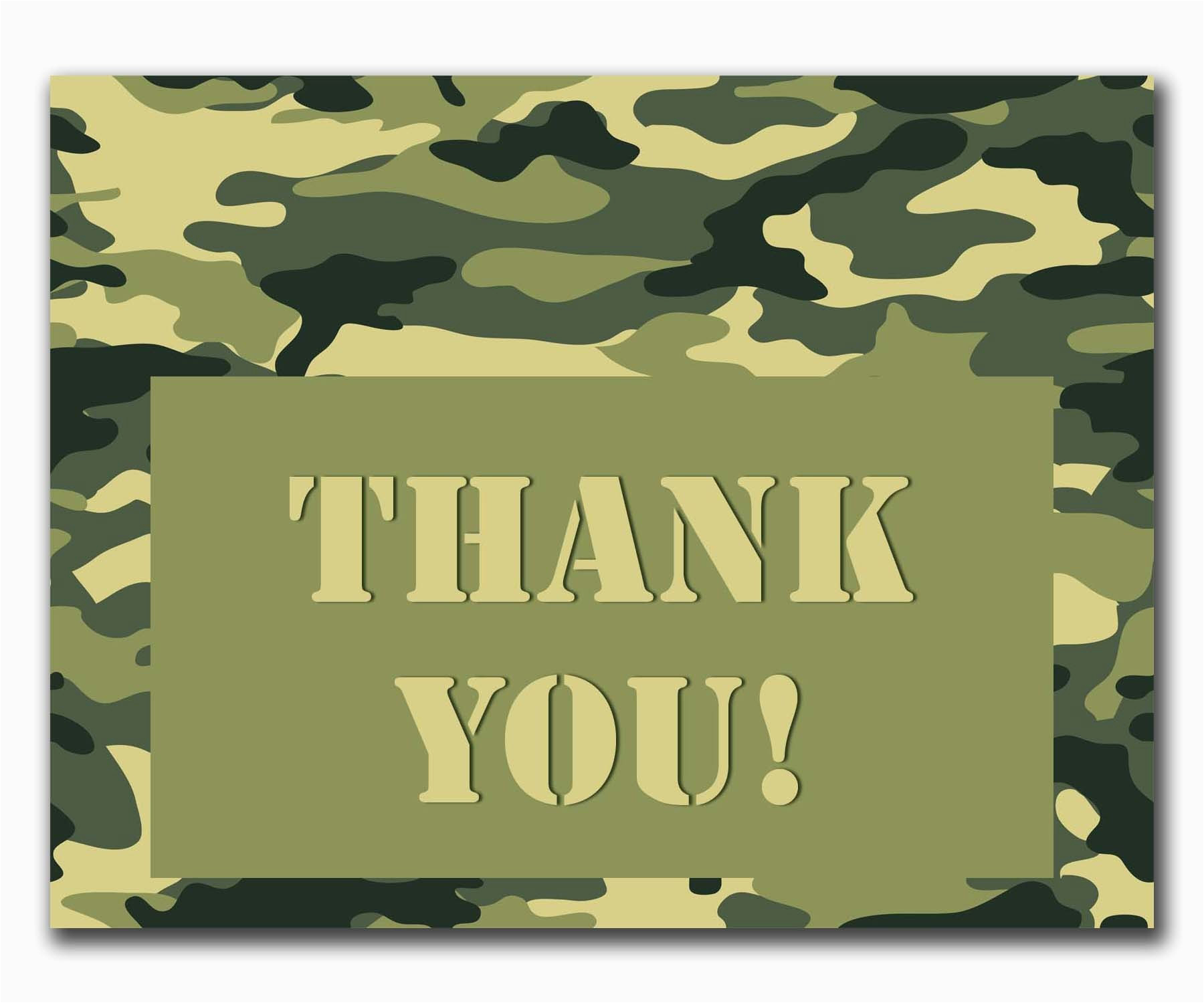 camouflage thank you printable card and envelope set