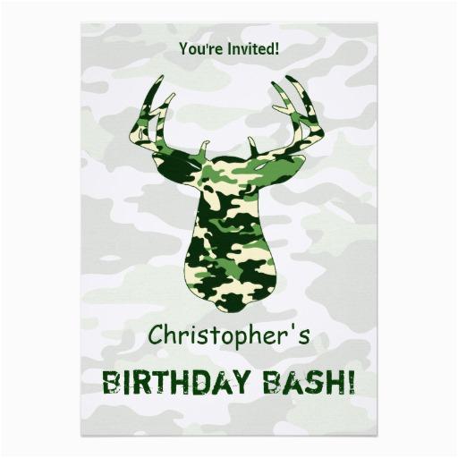 Camo Birthday Card Template Deer Hunting Camo Buck 13 Cm X