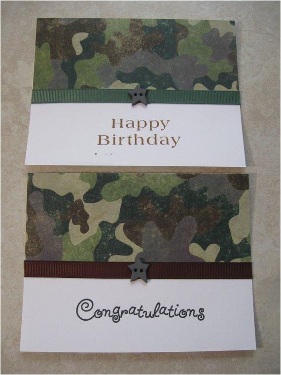 camo birthday and congrats cards