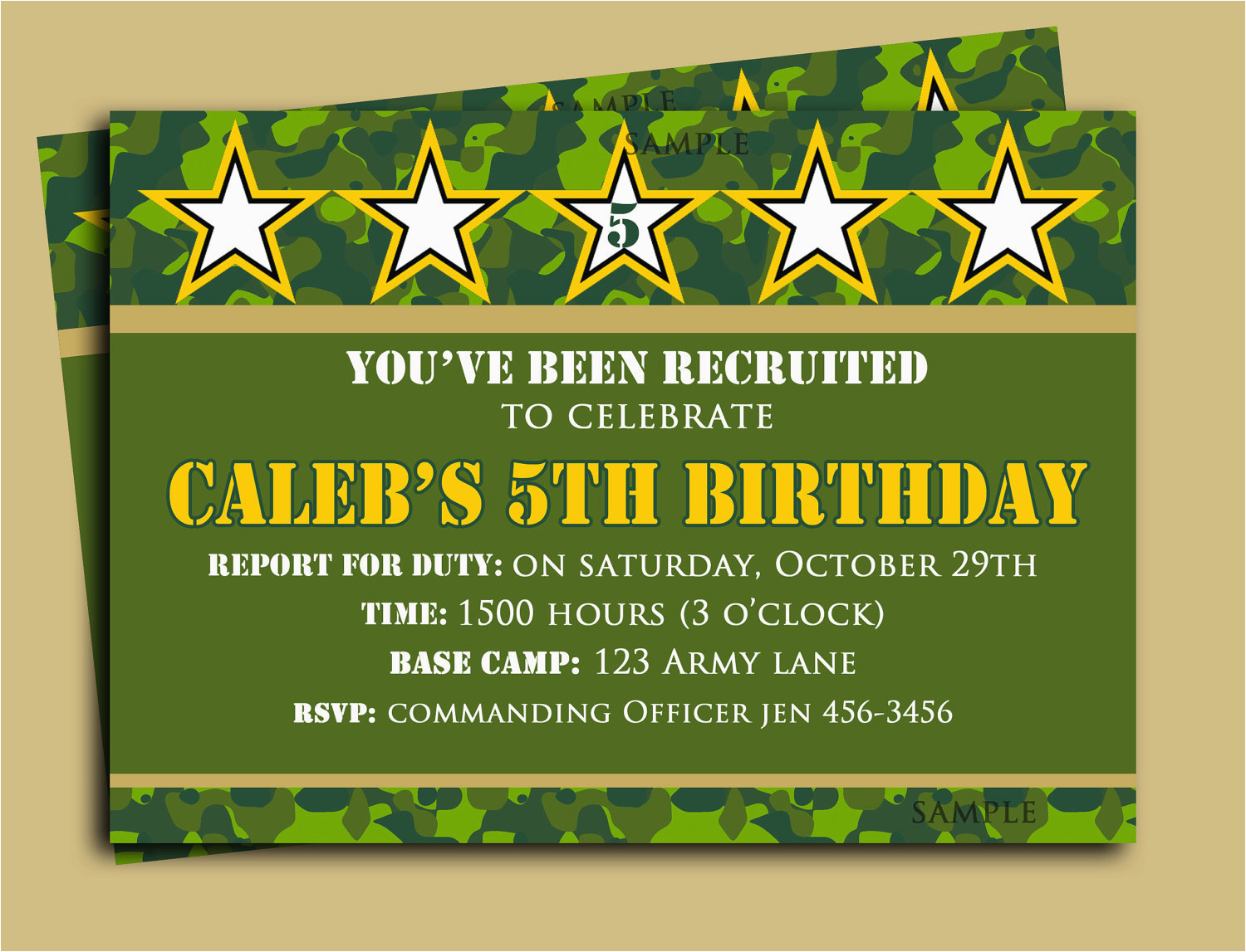 camouflage birthday invitation printable